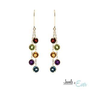 14K Gold Leverback Earrings with Genuine Gemstones